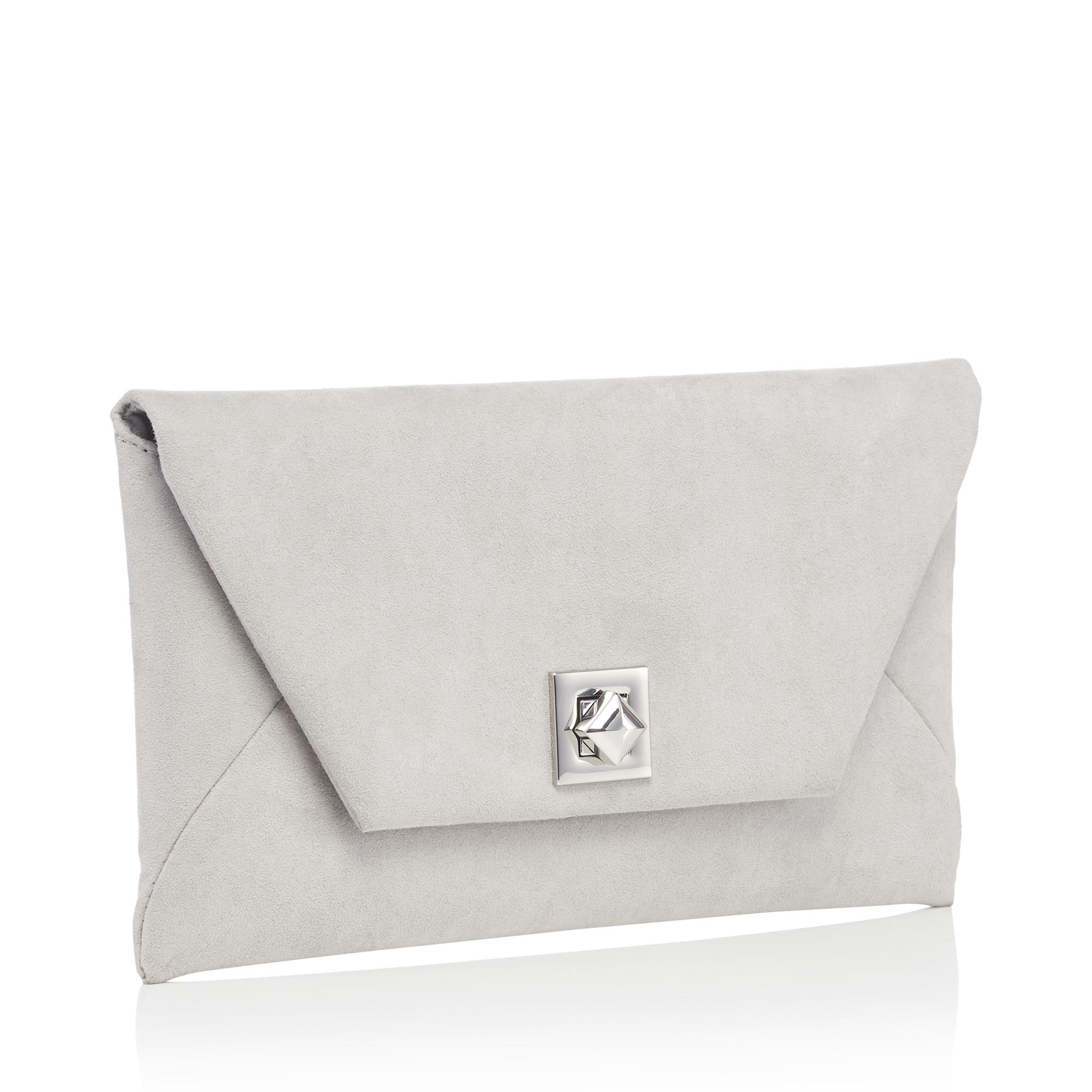 grey clutch bag